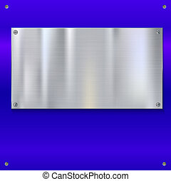 Blue shiny metal backdrop with screws. Stainless steel...