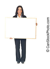 Young executive woman with banner - Young executive woman...