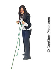 Executive woman pulling rope - Full length of executive...