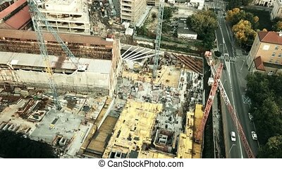 Aerial down view shot of an urban renovation construction...