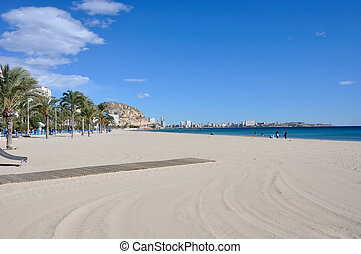 Beach in Alicante, Spain in winter. November
