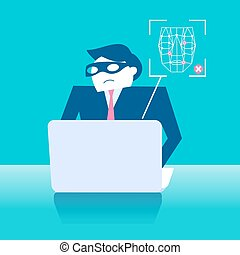 businessman with face recognition - business man with face...