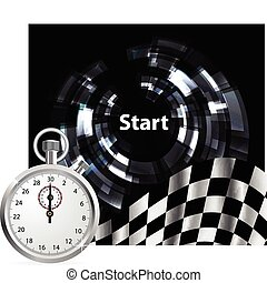 Checkered flag with a stopwatch