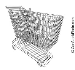 Sketch shopping trolley. Vector rendering of 3d. Wire-frame...