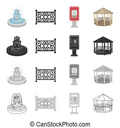 Roof, protection, park and other web icon in cartoon...
