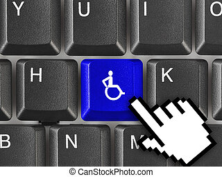 Computer keyboard with invalid key - healthcare background