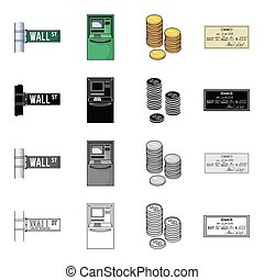 Bank, ?apital, cashless and other web icon in cartoon...