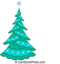 Christmas fir-tree with snowflakes