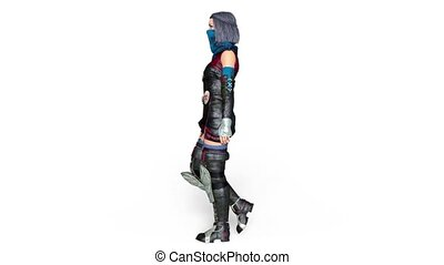 Walking female knight - 3D CG rendering of a walking female...