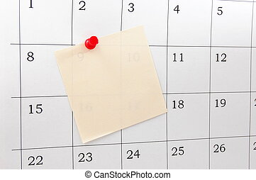 calendar - close up of a simple calendar page....