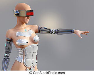 3D rendering of a sexy female android robot.