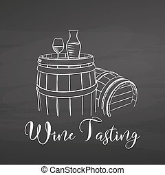 Wine Tasting symbol and lettering on chalkboard. Hand drawn...