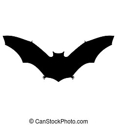 Bat silhouette on white background for Halloween vector...