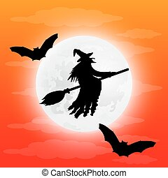 Silhouette of a terrible witch on a broomstick with bats....
