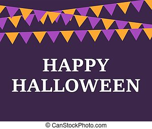 Postcard with flags Happy Halloween vector illustration