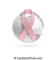 Background with pink ribbon and monochrome earth icon., -...