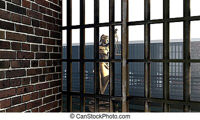 Conceptual illustration on existence in prison 3d rendering...