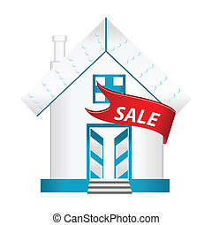 home for sale - illustration of home for sale on white...
