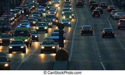 Traffic on the highway - Night traffic on the highway in the...