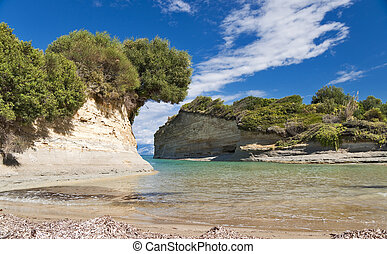 Seashore landscape of Canal d'amour in Corfu island