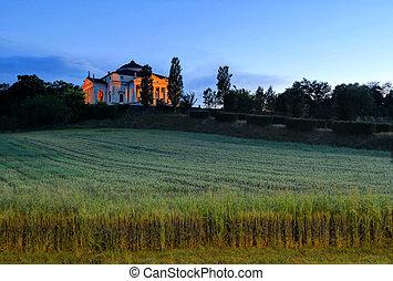 Sunset over Palladio's La Rotonda in Vicenza, Italy - Villa...