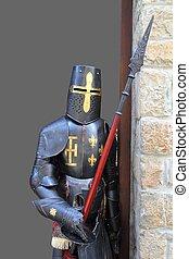 medieval, guerreira, soldado, metal, protetor, desgaste