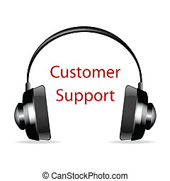 headphone with customer support text - illustration of...