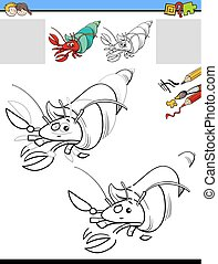drawing and coloring task with hermit crab - Cartoon...