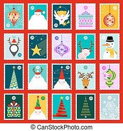Christmas postage stamps vector set