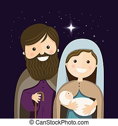 Christmas Eve with Holy Familly. Vector Illustration