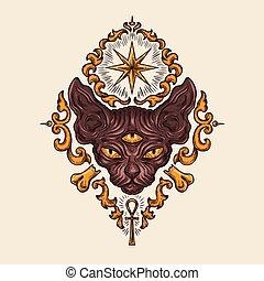 Black sphinx cat head with mysterious look vector - Black...