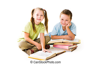 Pupils - Portrait of cute schoolchildren looking at camera...