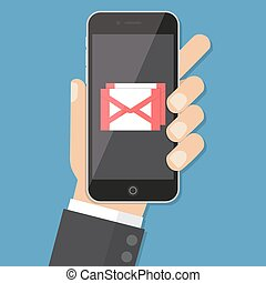 Flash Design style hand holding the smartphone with e-mail...