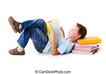 Reading - Image of schoolboy lying with his head on the heap...