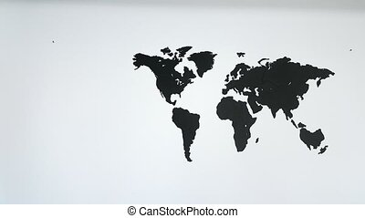 World map on the wall pan left to right