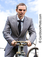 Go on straight way - Photo of powerful businessman steering...