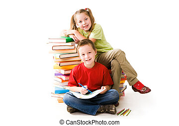 Clever friends - Smart girl sitting on book pile and cute...