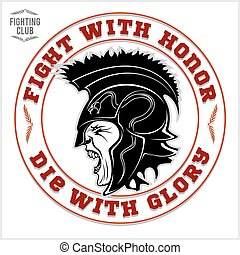 Gladiator logo with spear and shield. - Gladiator logo with...