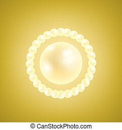 Vector Natural Realistic Pearls on Yellow Gradient...