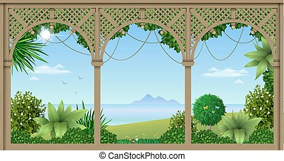 Veranda of a tropical hotel - Wooden veranda of a tropical...