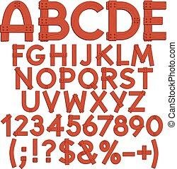 Alphabet, letters, numbers and signs from wooden boards....