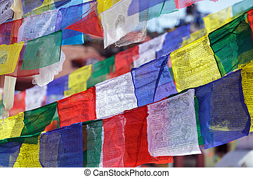tibetan prayer flags - traditional tibetan prayer flags in...