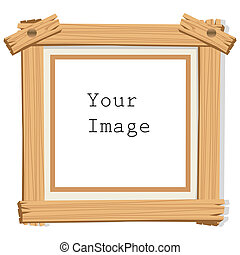 wooden photo frame - illustration of wooden photo frame on...