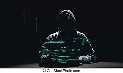 Spy is typing virus patches on the keyboard for hacking....