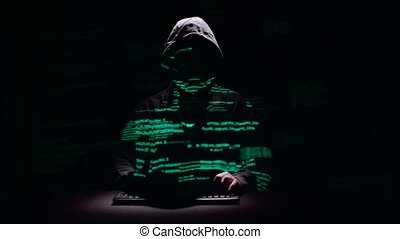 Guy writes patches for hacking web sites. Black background....