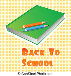 illustration of book and pencils with back to school text