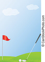 golf stick and golf ball - illustration of golf stick and...