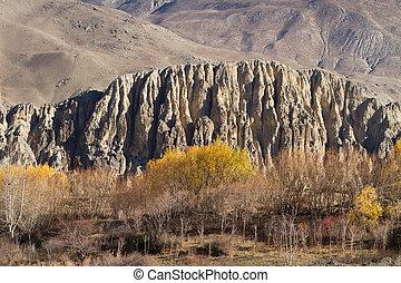 autumn in annapurna - autumn landscape in annapurna...