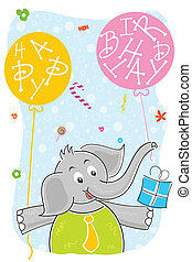 elephant with birthday balloon and gift