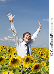 Joyful businessman - Portrait of glad businessman with...